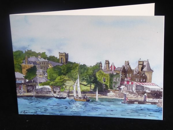 Card showing a painting of Cowes Harbour