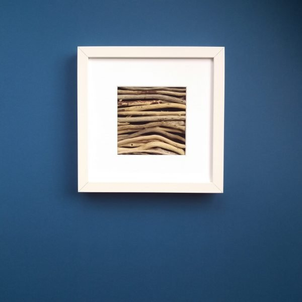 Against a blue background a white box frame with a horizontal arrangement of driftwood in a mixture of colours